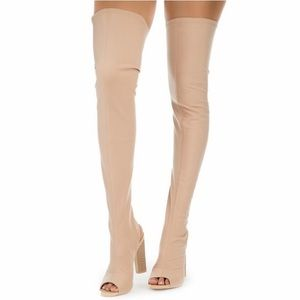 Stretchy Over Knee Jersey Boot Beige Peep Toe